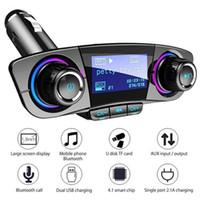 ingrosso kit di lettore mp3 usb-BT06 Trasmettitore FM 2.1A Caricabatteria da auto veloce Modulatore Aux Vivavoce Bluetooth Car Kit Lettore audio MP3 con Smart Charge Dual USB