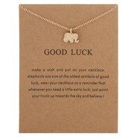silberner glücklicher elefantenanhänger halskette großhandel-Lucky Elephant Halsketten Anhänger Frauen Gold Silber Tier Anhänger Halsketten Mit Karte Modeschmuck Weihnachtsgeschenke