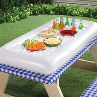 Wholesale tongs summer resale online - PVC Inflatable Drink Tray Large Aquatic Entertainment Salad Plate Summer Outdoor Cool Beer Table Portable Ice Buckets fy Ww
