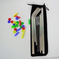 kadife fırça toptan satış-Paslanmaz Çelik İçme Payet 8 + 2 Takım Temizleme Fırçaları Kadife Çanta silikon ucu ve susturucu Düz Hasır Setleri Suyu Bükülmüş Payet Kiti