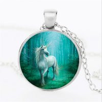 Wholesale bohemian style clothing for women - 12pcs lot 3 Color Vintage Steampunk Style White Unicorn Art Photo Retro Pendant Chain Dome Chain Jewelry For Girl Women Clothing Accessories