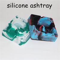 Wholesale Cigarette Ash Trays - Silicone Cigarette Ashtray Heat Resistant Square Ash Tray For Tobacco Tap Center Assorted Color silicone nectar collector