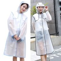 eva lluvia lluvia al por mayor-Impermeables EVA impermeables impermeables transparentes Mujeres de moda Rainwear Rain Coat Chaqueta Fringe Clothes Rain Gear WX9-380
