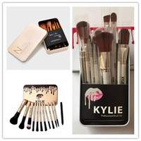 Wholesale make up box set - Kylie Makeup Brushes 12 pcs Professional Brush Sets Brands Make Up Foundation Powder Beauty Tools Cosmetic Brush Kits with Retail Box