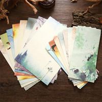 Wholesale Chinese Ink Paintings Lotus - 6pcs set Vintage Chinese Ink Painting Lotus Flowers Craft Envelope & Stationery Paper for Festive New Year Christmas Greeting