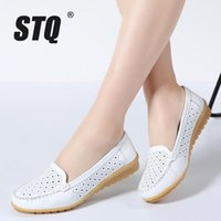 Wholesale pink leather ballet flats online - 2018 Summer women flats shoes women genuine leather shoes woman cutout loafers slip on ballet flats ballerines flats