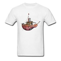Wholesale Pirate Boats - Steampunk Tug Boat T-Shirt Men Australia Pirate Ship Tshirt Top Quality Brand Slim Fit T Shirts Spring Boy Gift Tops Tees