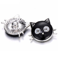 Wholesale black cat paintings - 10pcs 2018 New Snap Jewelry 18MM Round Black Drip Cat Metal buttons oil painting snap for snap Bracelet Jewelry