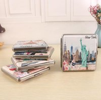 Wholesale new metal cigarette case for sale - Group buy New Colorful Metal Cigarette Cases Innovative Design leather New York Pattern High Quality Boxes Multiple Uses Portable Storage Box Hot Cake
