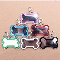 Wholesale dog bone accessories online - Cute Stainless Steel Metal Bone Shaped Pet Dog Cat ID Tag Medium Name Tags for Pet Dog Accessories Colors MMA973