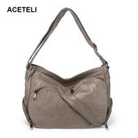 женские кожаные сумки hobo оптовых-ACETELI new women bag genuine leather  handbag designer famous s Hobos bags