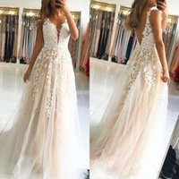 e217ddab4f0 Wholesale fairy prom dress for sale - Fairy Ivory Champagne Tulle Prom  Dresses A Line V