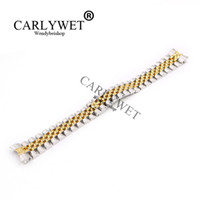 Wholesale Two Tone Bracelets - CARLYWET 20mm Wholesale Stainless Steel Jubilee Two Tone Gold Solid Screw Links Wrist Watch Strap Bracelet With Curved End