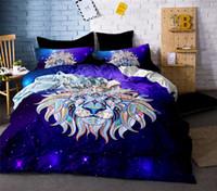 ropa de cama completa del león de la reina al por mayor-Lion Bedding Set Twin Full Queen King Doble Tamaño Funda Nórdica Doona Funda Edredón Fundas de Almohada 3 UNIDS
