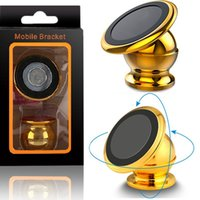 Wholesale metal box for cell phone resale online - Strong Magnetic Metal Cell Phone Holder For Car Mount Holder Stand Degrees Rotate For iphone samsung android phone gps mp3 with box