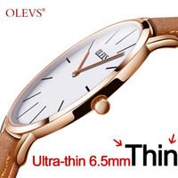 reloj de lujo hombres delgados al por mayor-Reloj de cuarzo ultrafino de los hombres OLEVS Relojes de cuarzo de lujo de la marca de fábrica superior Relojes de cuero de negocios informal Reloj de hombre impermeable de Rose Reloj