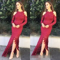 Wholesale maternity formal dresses online - Sexy Front Split Mermaid Prom Dresses Jewel long Sleeves Lace Dresses Applique Covered Button Formal Evening Dresses