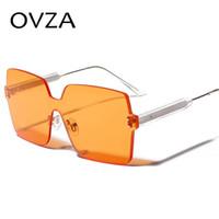 OVZA Oversized Óculos De Sol Sem Moldura Lente Translúcida Óculos  Acessórios de Moda Das Mulheres Dos Homens Óculos De Sol Legal Quadrado  Amarelo S2007 54f238e2df