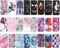 crâne iphone achat en gros de-Imprimé Portefeuille En Cuir Éléphant Hibou Hibou Crâne Papillon Cas Pour iPhone 8 7 6 plus 5S SE Samsung S7 Bord S6 Bord S5