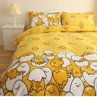 Wholesale queen size beds free shipping online - New design children cartoon gudetama bedding set twin full queen size cotton bed linen without filler