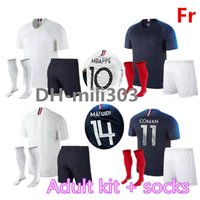 Wholesale National Team Soccer Uniforms - 2018 2019 World Cup France soccer Jersey kit World 18 19 MBAPPE POGBA GRIEZMANN KANTE FR DEMBELE national team adult football shirt uniform