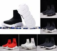 zapatillas para correr al por mayor-Factory Outlet Luxury Sock Shoe Paris Speed Trainer Zapatos para correr Zapatillas de deporte Sock Race Runners Zapatos negros Hombres Mujeres Zapatos deportivos Eur 36-46