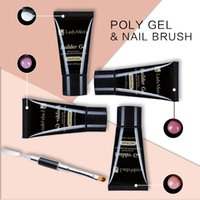 Wholesale French Tip Nail Brush - Ladymisty Poly Gel 45g Acrylic French Kit Soak off UV Jelly Clear Gel Builder Nails Extension Tips With Brush Nail Form