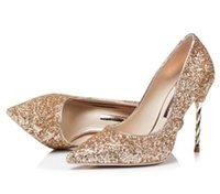 ingrosso pattini di vestito dal colore gradiente-2018 Nuove donne glitter tacchi alti scarpe di paillettes in pelle partito scarpe pompe di colore sfumato scarpe da sposa scarpe tacco in metallo