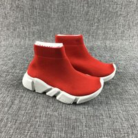 Wholesale girl shoes boots pink - 2018 Fashion Baby Kids Socks Boots Children Athletic Shoes Slip On Casual Flats Speed Trainer Sneakers Boy Girl High Top Running Shoes Red