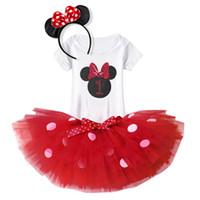 kabarık parti elbisesi toptan satış-Yaz Bebek Kız Tutu Elbise Kabarık 1st Doğum Günü Kıyafetler Giyinmek Toddler Kız Parti Elbise Fare Kostüm Kız Bebek Giyim