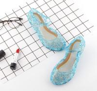 Wholesale shoes holes for sale - 4colors Led kids Sandals Shoes Light Girls Princess Shoes Blue Crystal Sandals Girls Cosplay Shoes Blue PVC Hole Snowflake Sandal