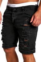 venda de calças jeans rasgadas venda por atacado-Atacado-New Arrivals Men Moda Jeans Rasgado Calças Curtas Solta Denim Calças Jeans Curtas M-2XL Hot Sales