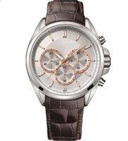 hb izle siyah toptan satış-Deri Kayış Siyah Deri Kayış Spor Chronograph Watch 43mm HB - 1512881