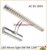 lámparas de pared espejo al por mayor-USTED 10 UNIDS LED luz de espejo 6W 9W 12W 40/55 / 70cm AC 85-265V acero inoxidable baño Lámparas de pared apliques de pared iluminación con interruptor
