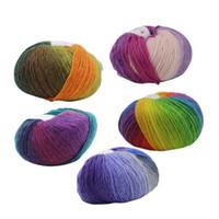 hilos para tejer ganchillo al por mayor-fityle 5Pcc Punto Chunky Sock Chal Lana de lana Rainbow Knitting Hand Knitting Scores Lana Hilo Agujas Crochet Weave Thread