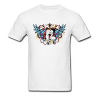 дизайн панк-майка оптовых-Панк-дэт-метал череп футболка 3D цифровой печати мужская натуральный хлопок Slim Fit топ футболки на заказ прохладный дизайн цвет крыла Леди