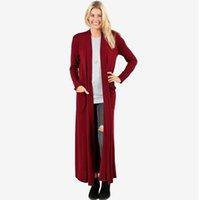 ingrosso maglioni di cardigan maxi-Cardigan Maxi Maxi Cardigan Casual Open Front Solid manica lunga tasca cappotto invernale cardigan da donna