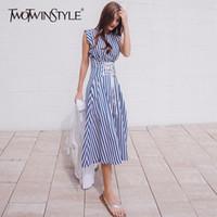 ingrosso la moda estiva coreana si veste-commercio all'ingrosso Lace Up Dress For Women Striped senza maniche Tunica a vita alta Abiti da festa 2018 Summer Fashion vestiti coreani
