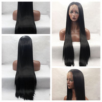 Wholesale Glueless Full Lace Wig Synthetic - Wholesale Fiber Hiar 1b# Natural Black Long Silky Straight Synthetic Wigs Heat Resistant Glueless Lace Front Full Lace Wigs for Black Women