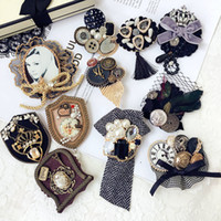 Wholesale hair clothes for girls resale online - Korea Vintage Luxurious Rhinestone Pearl Plush Lace Brooches Hairpins Fashion Hair Jewelry for Woman Girls Clothes Accessories