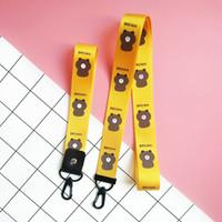 ingrosso telefoni cellulari a colori gialli-KY-031 Nuovo simpatico orso marrone cinturino per cellulare polso giallo colore ID titolare cordino collo cinghia portachiavi accessori regali