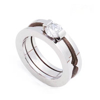 Wholesale china steel silver online - Bulgaria Luxury Brand Cheap Price Men Women Wedding Ring L Stainless Steel Finger Ring Jewelry Gift with Big CZ Stone