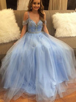 Discount grade girls dress Light Blue Off The Shoulder Ball Gowns Quinceanera Crystal Beading Sequins Prom Dress 6th Grade Tulle Graduation Dress Sweet 16 Girls