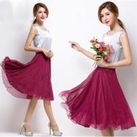 Wholesale Midi Skirt Lace - High Elastic Waist Pleated A Line Midi Skirt Adult Tulle Skirts Womens Summer Style Black White Pink Red Grey Purple