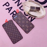 Wholesale Iphone Cases Print - Luxury brand printing pattern letters Leather texture phone case for iphone 7 7plus 8 8plus hard back cover for iphone 6 6S 6plus