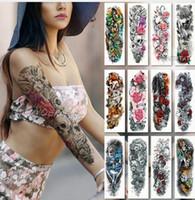 ingrosso tatuaggi a braccio per gli uomini-Tatuaggio a manica larga tatuaggio braccio impermeabile tatuaggio adesivo teschio angelo rosa fiore di loto uomini completo fiore tatuaggio body art tatoo