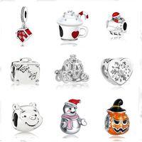 Wholesale silver bracelets numbers 925 resale online - european MOQ christmas gift house cup snowman diy bead fit Original Pandora charms silver Bracelet jewelry for women F010