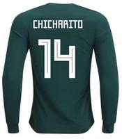 Wholesale quality h - 18-19 Mexico home Customized Thai Quality long sleeve 14 Chicharito J.Hernandez Soccer Jerseys ,11 CARLOS V 16 H. HERRERA 17 J.M.CORONA wear