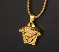 Wholesale Crown Pendant Men - Hip Hop Rock Gold-color women head medusa pendant Gold Plated Black Eyes Lion Head Pendant Men Necklace King Crown Iced Out Fashion Jewelry