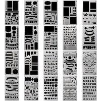 diy günlük defteri toptan satış-Bullet Dergisi Stencil Için 4x7 Inç Plastik Planlayıcısı Şablonlar Tasarım Dergisi / Dizüstü / Günlüğü / Karalama Defteri DIY Çizim Şablon 20 Adet / takım